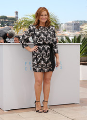 Amy Poehler donned a monochrome print mini dress for the 'Inside Out' photocall in Cannes.
