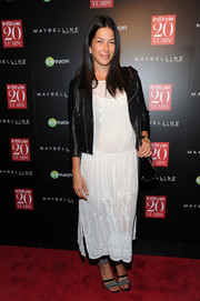 Rebecca Minkoff played with contrasts at the InStyle 20th anniversary party, teaming a delicate white embroidered dress with an edgy black leather jacket.