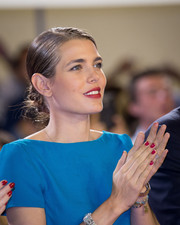 Charlotte Casiraghi sported red nail polish, which was a perfect match to her lipstick, at the Longines Grand Prix du Prince.