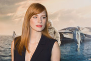 Jessica Chastain opted for a straight style with side-swept bangs when she attended the Washington DC premiere of 'Interstellar.'