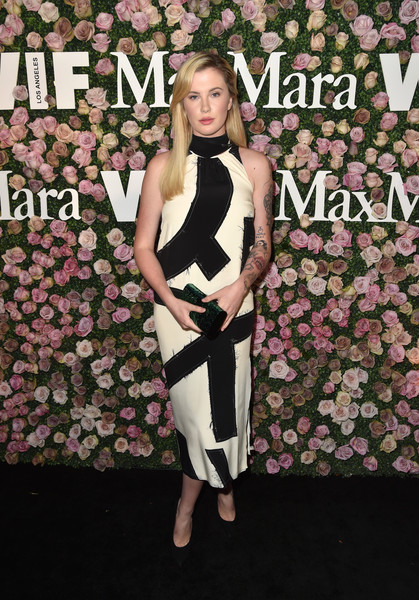 Ireland Baldwin Midi Dress [clothing,carpet,fashion,red carpet,leg,dress,flooring,footwear,premiere,thigh,max mara celebrates zoey deutch,the 2017 women in film max mara face of the future,ireland baldwin,model,chateau marmont,california,los angeles,max mara]