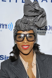 Fashion stylist June Ambrose wore another silk turban during a visit at Sirius XM's Martha Stewart Living Radio.