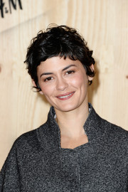 Audrey Tautou rocked a mussed-up pixie at the Isabel Marant for H&M photocall.