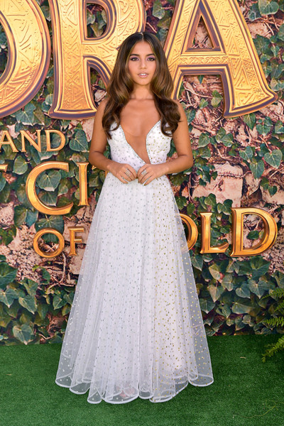 Isabela Moner Embroidered Dress [dora and the lost city of gold,dress,gown,clothing,lady,wedding dress,formal wear,bride,beauty,bridal clothing,bridal party dress,arrivals,isabela moner,regal cinemas l.a. live,california,los angeles,la premiere,paramount pictures]