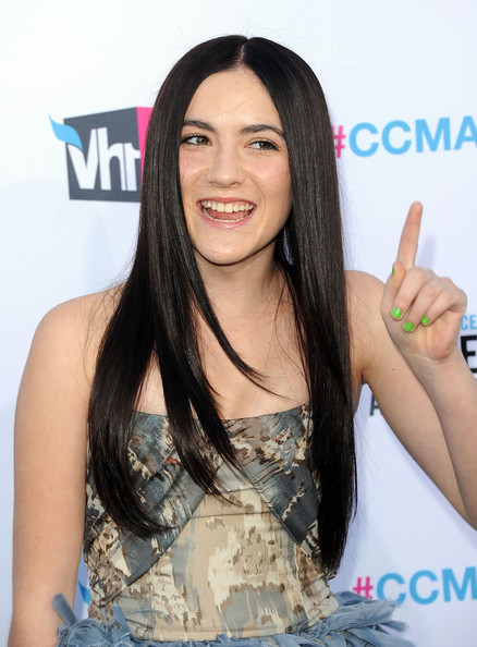 Isabelle Fuhrman Bright Nail Polish [hair,hairstyle,long hair,beauty,black hair,hair coloring,layered hair,lace wig,gesture,brown hair,arrivals,isabelle fuhrman,california,los angeles,the hollywood palladium,critics choice movie awards]
