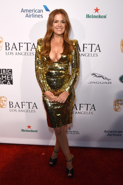 Isla Fisher Platform Sandals [clothing,red carpet,carpet,dress,cocktail dress,yellow,fashion,shoulder,premiere,flooring,isla fisher,tea party,los angeles,four seasons hotel,beverly hills,california,bbca bafta,bbca bafta tea party]