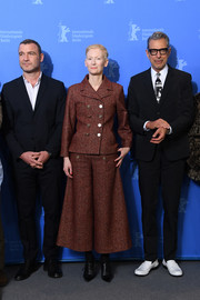 Tilda Swinton was vintage-chic in a double-breasted, wide-leg tweed suit by Chanel at the Berlinale photocall for 'Isle of Dogs.'