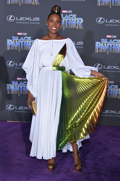 Issa Rae Platform Sandals [black panther,fashion,fashion design,formal wear,carpet,flooring,dress,event,sari,world,arrivals,issa rae,california,hollywood,dolby theatre,disney,marvel,premiere,premiere]