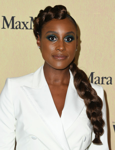 Issa Rae Long Braided Hairstyle [women in film annual gala 2019,arrivals,issa rae attends women in film annual gala 2019,hair,hairstyle,eyebrow,beauty,long hair,forehead,black hair,lip,ringlet,brown hair,beverly hills,california,the beverly hilton hotel,max mara]
