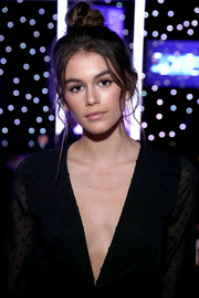 Kaia Gerber swept her hair up into a top knot for the JDRF Imagine Gala 2017.