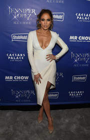 Jennifer Lopez chose a pair of Jimmy Choo Anouk pumps, in nude lace, to finish off her look.
