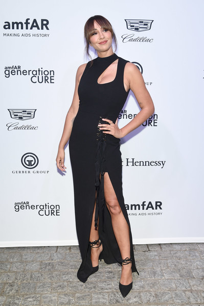 Jackie Cruz Cutout Dress [clothing,dress,shoulder,cocktail dress,little black dress,fashion,fashion model,leg,footwear,joint,mr.,jackie cruz,generationcure solstice,purple,new york city,amfar]