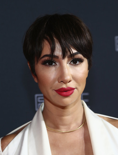 Jackie Cruz Short Cut With Bangs [hair,face,hairstyle,lip,eyebrow,chin,bangs,bob cut,beauty,forehead,jackie cruz,fysee,bangs,hair,hairstyle,face,netflix,netflix fysee,red carpet,kick-off,jackie cruz,actor,bangs,photograph,stock photography,celebrity,getty images]