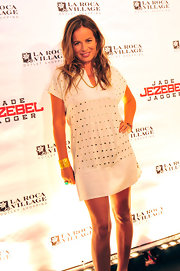 This silver accented mini dress put Jade Jagger's legs out for a show at the La Roca Village event.
