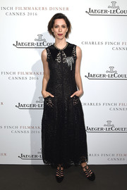 Rebecca Hall kept it demure in an ankle-length lace dress at the Jaeger-LeCoultre dinner at Cannes.