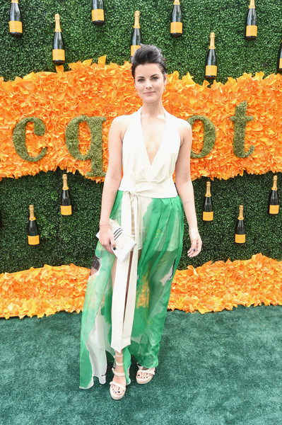 Jaimie Alexander Strappy Sandals [orange,green,clothing,fashion,yellow,dress,carpet,flooring,red carpet,haute couture,arrivals,jaimie alexander,jersey city,new jersey,liberty state park,ninth,veuve clicquot polo classic]
