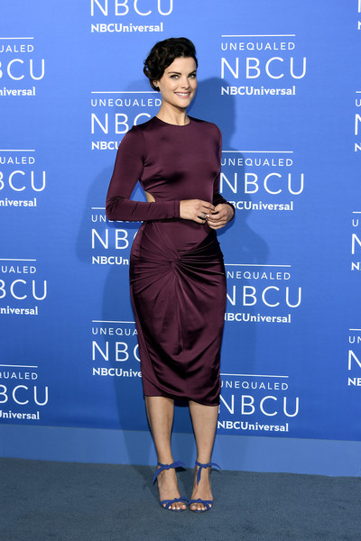 Jaimie Alexander Strappy Sandals [cobalt blue,dress,clothing,shoulder,cocktail dress,electric blue,hairstyle,carpet,fashion,joint,jaimie alexander,upfront,radio city music hall,new york city,nbcuniversal]
