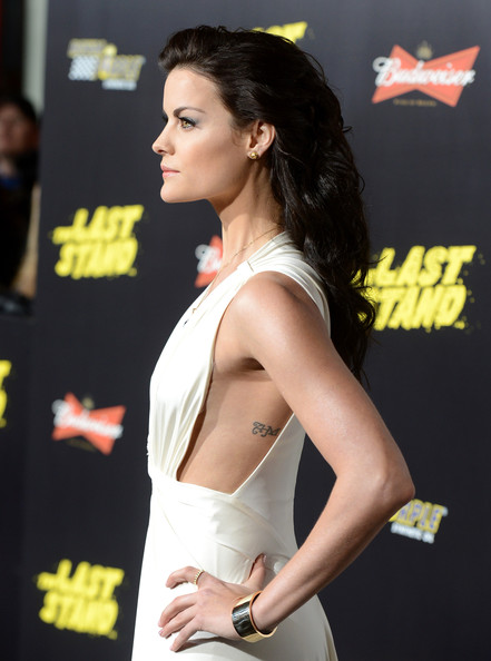 Jaimie Alexander Lettering Tattoo [the last stand,hair,shoulder,beauty,premiere,hairstyle,joint,fashion model,dress,carpet,model,red carpet,jaimie alexander,grauman,california,hollywood,chinese theatre,lionsgate films,premiere,premiere]