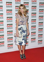Vanessa Kirby chose a patterned skirt to pair with a patterned top for her look the red carpet at the Jameson Empire Awards.