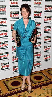 Olivia Colman carried her Jameson Empire Award in this sky blue shimmering dress.