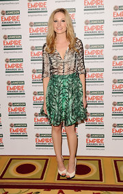 Joanne Froggatt paired her flouncy skirt with a matching print blouse at the Jameson Empire Awards.