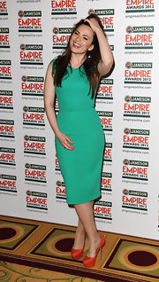 Hayley Atwell attended the 2012 Jameson Empire Awards wearing a pair of tangerine platform pumps.