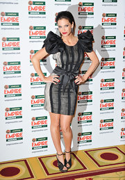 Sarah Harding wowed at the Jameson Empire Awards in stunning gray sandals featuring intricate cut outs and gold studded platforms.