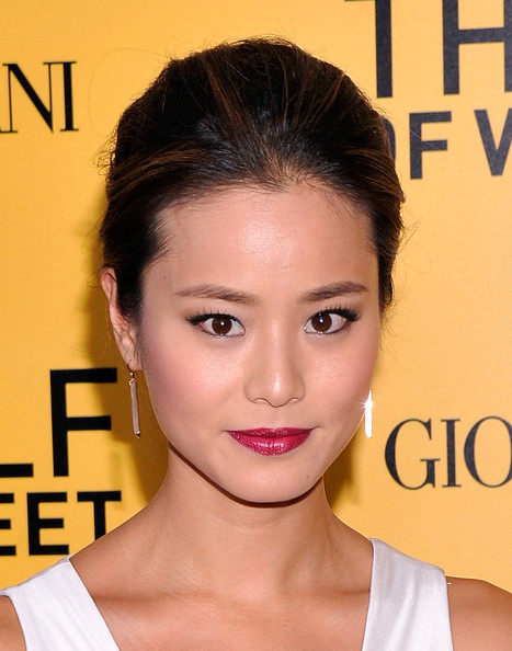 Jamie Chung French Twist [hair,face,eyebrow,hairstyle,lip,chin,skin,forehead,beauty,nose,the wolf of wall street,nyc,ziegfeld theatre,giorgio armani presents,jamie chung]