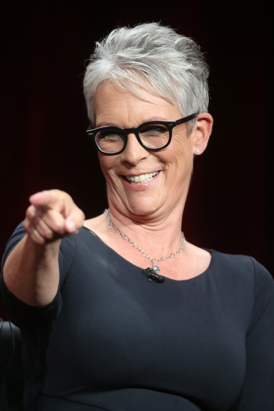 Jamie Lee Curtis Pixie [scream queens,eyewear,hair,face,glasses,blond,hairstyle,chin,lady,beauty,cheek,jamie lee curtis,portion,beverly hills,california,the beverly hilton hotel,fox,summer tca,panel discussion,summer tca tour]