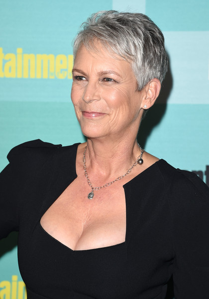 Jamie Lee Curtis Pixie [entertainment weekly hosts,hair,face,hairstyle,blond,chin,premiere,neck,smile,pixie cut,jamie lee curtis,float,hard rock hotel,the hard rock hotel,san diego,california,entertainment weekly,comic-con party,celebration]