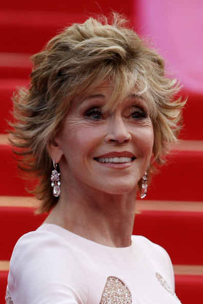 Jane Fonda Layered Razor Cut [sleeping beauty,hair,hairstyle,chin,blond,layered hair,smile,feathered hair,jane fonda,cannes,france,cannes film festival,premiere,palais des festivals]