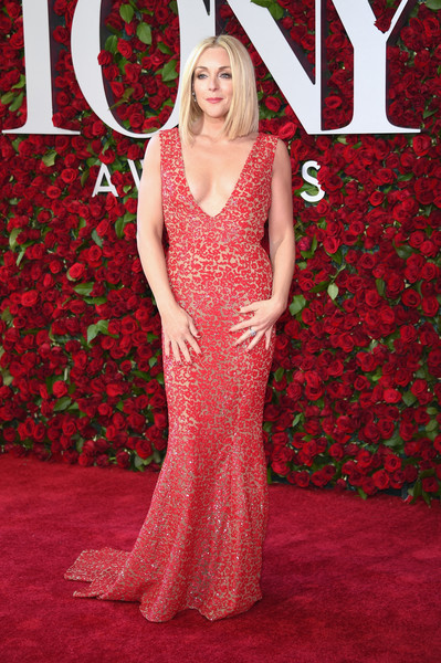 Jane Krakowski Beaded Dress [red,dress,flooring,carpet,gown,red carpet,lady,shoulder,day dress,fashion,arrivals,jane krakowski,tony awards,the beacon theatre,new york city]