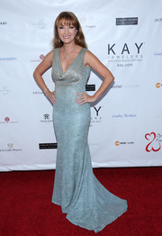 Jane Seymour oozed glamour in a blue and silver cowl-neck gown at the 2017 Open Hearts Gala.