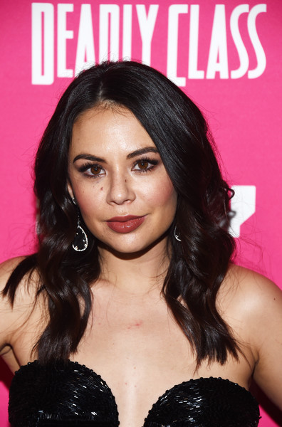 Janel Parrish Long Wavy Cut [deadly class premiere screening - arrivals,series,deadly class,hair,hairstyle,black hair,eyebrow,chin,long hair,lip,brown hair,eyelash,hair coloring,series,janel parrish,west hollywood,california,the roxy theatre,syfy,premiere screening]
