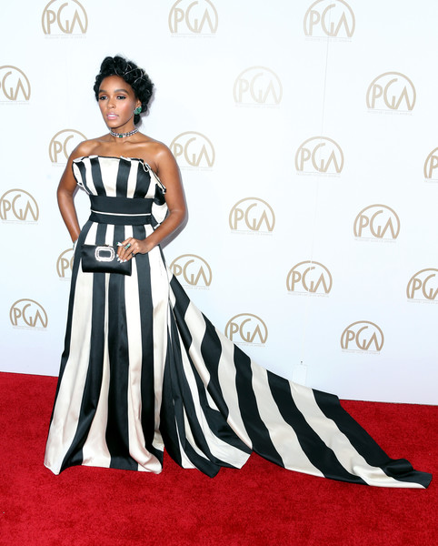 Janelle Monae Satin Clutch [flooring,carpet,fashion model,shoulder,gown,red carpet,dress,fashion,joint,formal wear,arrivals,janelle mon\u00e1e,actor,beverly hills,california,the beverly hilton hotel,annual producers guild awards]