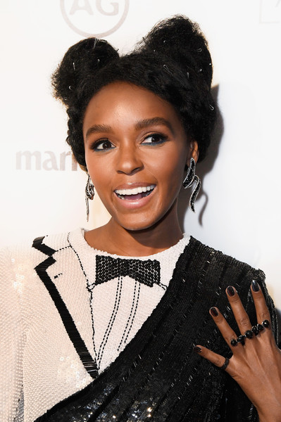 Janelle Monae Pigtail Buns [hair,hairstyle,black hair,eyebrow,lip,beauty,forehead,fashion,smile,fashion accessory,arrivals,janelle monae,marie claires image maker awards,catch la,west hollywood,california]