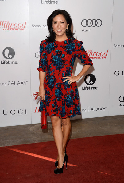 Janice Min Print Dress [janice min,arrivals,annual women in entertainment breakfast,clothing,fashion model,red carpet,carpet,dress,cocktail dress,shoulder,fashion,joint,footwear,beverly hills hotel,california,women in entertainment breakfast,the hollywood reporter]