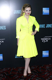 Abigail Breslin embraced brights in a major way at the 'Janie Jones' screening in a highlighter yellow skirt suit.