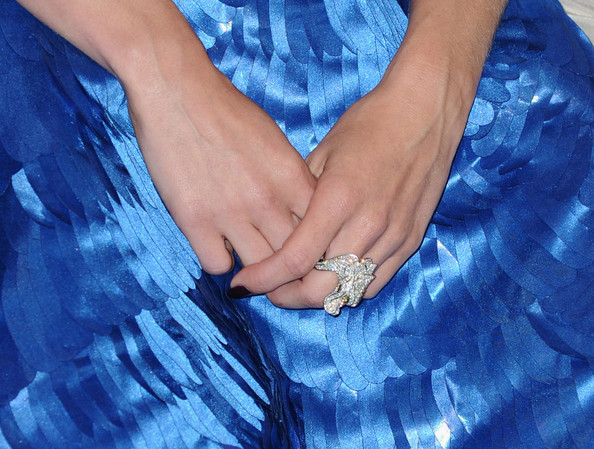 January Jones Statement Ring [blue,hand,nail,finger,electric blue,gesture,jeans,interaction,ring,leg,january jones,primetime emmy awards,room,los angeles,press room,jw marriott,california,l.a. live,annual primetime emmy awards]