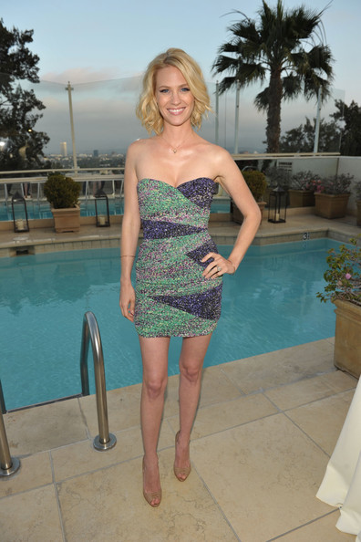 January Jones Strapless Dress [clothing,shoulder,dress,turquoise,aqua,cocktail dress,leg,fashion,blond,vacation,gq,oceana world oceans day,nautica,oceana world oceans day party,west hollywood,california,sunset tower,january jones]