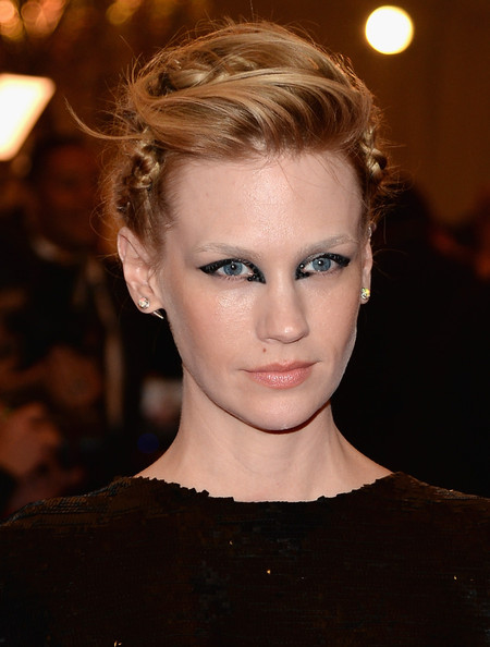January Jones Diamond Studs [punk: chaos to couture,hair,eyebrow,hairstyle,face,lip,blond,beauty,chin,fashion,ear,january jones,new york city,metropolitan museum of art,punk: chaos to couture costume institute gala,exhibition]