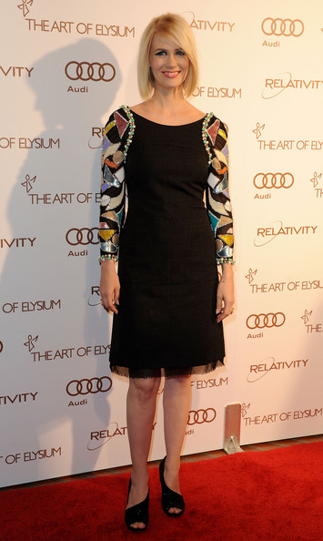 January Jones Evening Sandals [clothing,dress,cocktail dress,shoulder,little black dress,hairstyle,fashion,carpet,footwear,red carpet,arrivals,january jones,california,los angeles,art of elysium,the art of elysium,5th annual heaven gala]