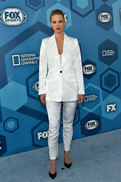 January Jones Pumps [red carpet,blue,white,suit,flooring,electric blue,fashion,outerwear,formal wear,blazer,carpet,fox 2016 upfront,january jones,wollman rink,new york city,fox 2016]