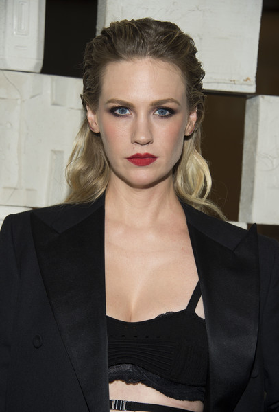 January Jones Long Wavy Cut [hair,lip,face,hairstyle,blond,eyebrow,beauty,fashion model,shoulder,chin,arrivals,laurie anderson,todd haynes,january jones,valerie macon,garden,california,bottega veneta,afp,hammer museum gala in the garden]