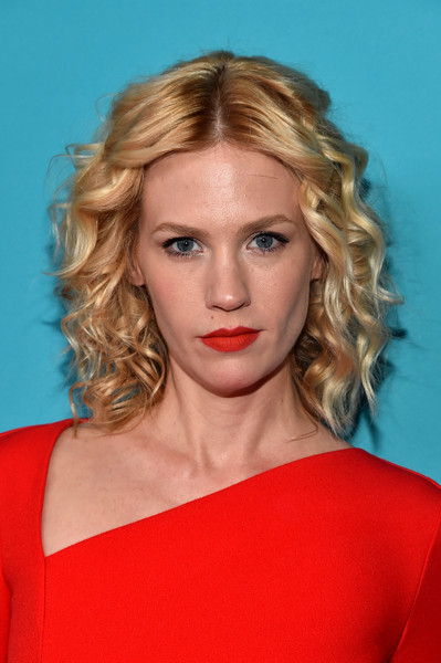 January Jones Red Lipstick [hair,face,blond,hairstyle,eyebrow,lip,shoulder,chin,beauty,long hair,january jones,lacoste,costume designers guild awards,lacoste - red carpet,beverly hills,california,the beverly hilton hotel,sponsor,sponsor]