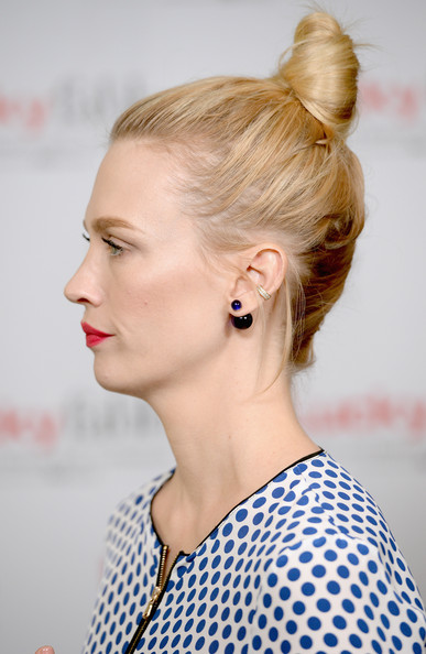 January Jones Hair Knot [hair,hairstyle,ear,blond,bun,beauty,chin,fashion,chignon,lip,january jones,lucky fabb: fashion and beauty blog conference,hair detail,beverly hills,california,sls hotel,p g]