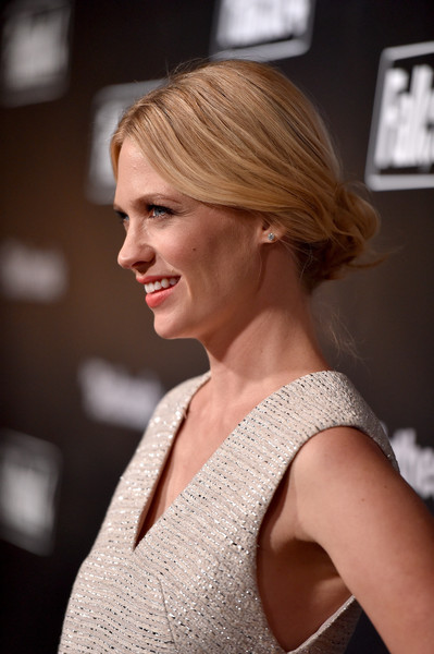 January Jones Loose Bun [video game,hair,hairstyle,blond,shoulder,chin,beauty,lip,bob cut,fashion,chignon,january jones,fallout 4,los angeles,ca,fallout,launch event,video game launch event]