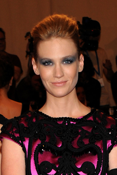 January Jones Pompadour [american woman: fashioning a national identity,hair,face,hairstyle,fashion,eyebrow,fashion model,beauty,lip,chin,eyelash,january jones,arrivals,costume institute gala benefit,metropolitan museum of art,new york city,met gala,opening,exhibition]