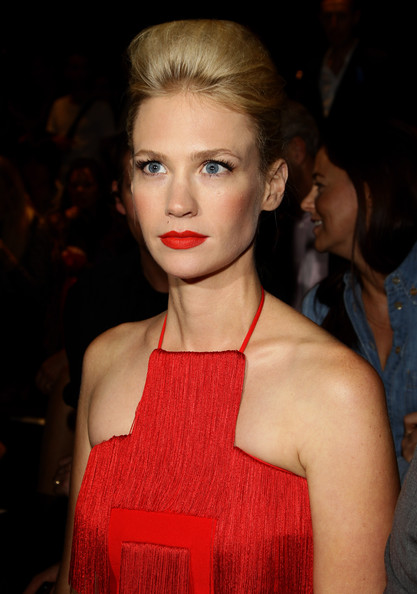 January Jones Pompadour [hair,lip,face,hairstyle,fashion,beauty,eyebrow,fashion model,blond,chin,january jones,versace - front row,s/,milan,italy,gucci spring,milan fashion week,fashion show]