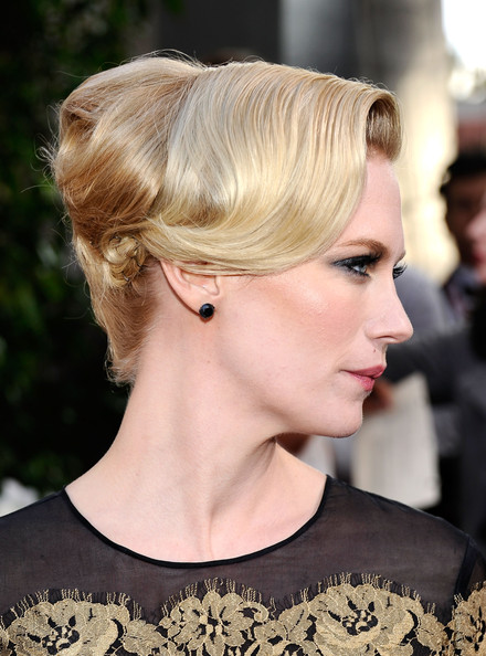 January Jones Retro Updo [red carpet,hair,hairstyle,blond,chin,ear,chignon,beauty,fashion,bun,lip,january jones,screen actors guild awards,california,los angeles,the shrine auditorium,17th annual screen actors guild awards]